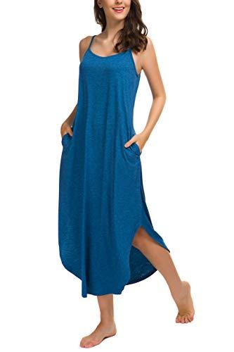AVIIER Nightgown Womens Cotton Knit Sleeveless Nightshirt Soft Loungewear(Blue, XL) ...