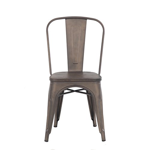 Buschman Store TH-1002C Timber Gun Grey 4 Set of Four Bronze Wooden Seat Tolix-Style Metal Indoor/Outdoor Stackable Chairs with Back, by Buschman Store (Image #2)