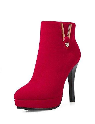 Rojo Stiletto Red us8 De Uk6 Puntiagudos La Botas A Moda Zapatos Cn39 Negro Tacón Eu39 Vellón Vestido Xzz Mujer 6IOqgn