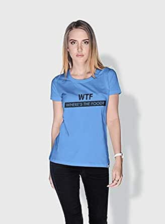 Creo Wtf Wheres The Food Funny T-Shirts For Women - L, Blue