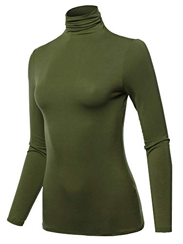 SSOULM Women's Long Sleeve Lightweight Turtleneck Top Pullover Sweater Olive 1XL
