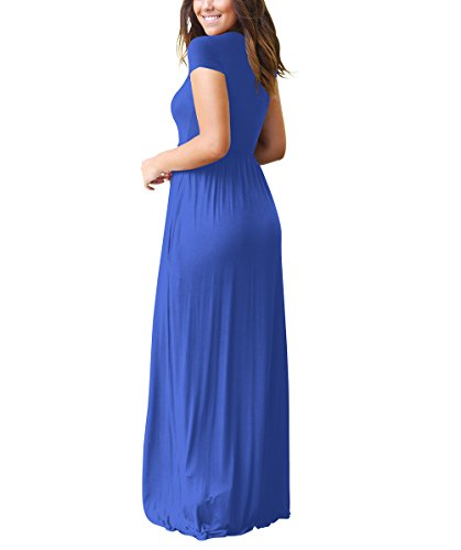 Maxikleid Damen Elegant Kurzarm Rundhals High Waist A-Linie Einfarbig Mit Taschen Freizeit Lang Kleider Strandkleid Sommerkleider Blau Ehn2YJ