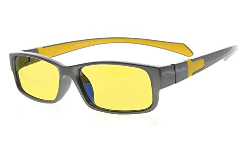 Eyekepper Yellow Tinted Lens 94% Blue Light Blocking Computer Glasses (Grey/Yellow Arm - Arm Glasses Length