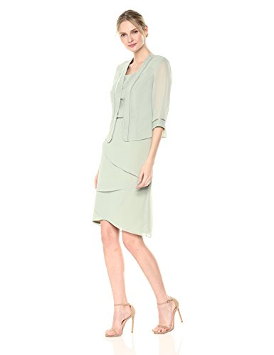 Le Bos Women's Glitter Trimmed Tiered Jacket Dress, Celadon, 14 (Dress Jacket Trimmed)