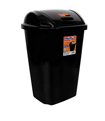 MattsGlobal Swing-Lid 13.5-Gallon Trash Can Multiple Colors Durable Plastic Hands Free Use and Large Capacity Rectangle (Black)