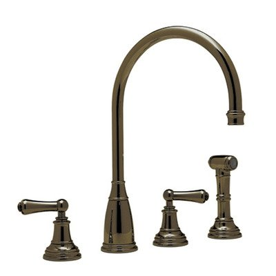 Rowe 4 Hole Kitchen - Rohl U.4736L-EB-2 Perrin & Rowe Athenian Four Hole Kitchen Faucet in English Bronze with Metal Alsace Levers Sidespray Rinse & High ^C^ Spout