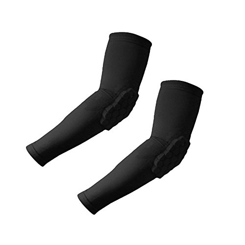 Padded Elbow Sleeve (Morris 1 Pair / 2 Pcs Honeycomb Pad Crashproof Cycling Basketball Arm Guard Sleeve Elbow Support (Black, Medium))