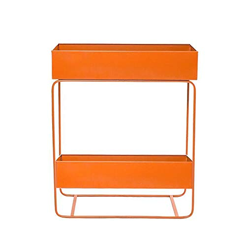 Jcnfa-Shelves Bookshelf Double Layer Plant Stand Storage Shelf for Garden Metal Frame Standing Shelving Storage ,7 Colors (Color : Orange, Size : 23.629.8429.13in) from Jcnfa-Shelves