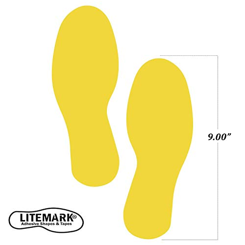 LiteMark 9 Inch Yellow Footprint Decal Stickers for Floors and Walls - Pack of 12 (6 -