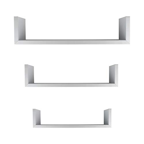 - Danya B. XF11039GR Silver Laminated MDF Floating U Wall Décor Shelves (Set of 3) - Gray