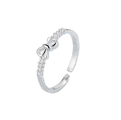 Da.Wa Female Bowknot Diamond Insert Eternity Silver Rings Wedding Engagement Jewelry Gift For Women Lover
