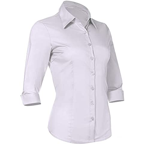 - 31sKw2ku0vL - Button Down Shirts for Women 3 4 Sleeve Fitted Dress Shirt and Blouses Work Top