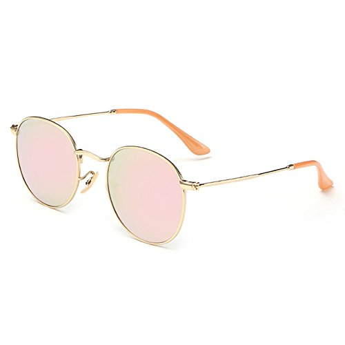 Joopin-Polarized Sunglasses Men Coating Lens Sun Glasses Women Vintage Round Sunglass Man - Light Sunglasses Pink