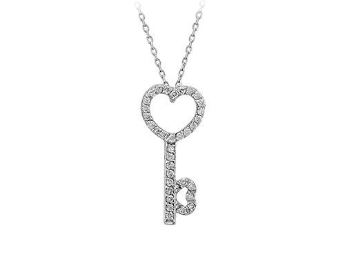Pendentif Clef et Diamants-Femme- or Blanc 214P0003