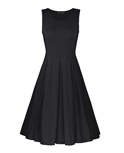 STYLEWORD Women's Sleeveless Casual Cotton Flare Dress(Black,M)