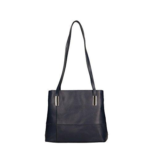 Azul in cuero Made Cm genuino Oscuro Italy bolsa en Aren de Mujer 30x25x10 hombro TfHH7F