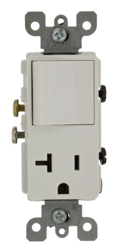 Leviton 5636-W 20 Amp, 120 Volt, Decora Single-Pole, AC Combination Switch, Commercial Grade, Grounding, -