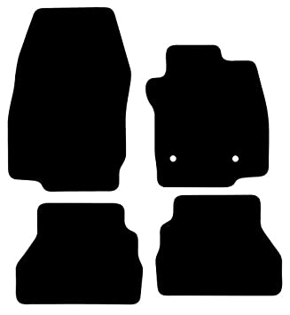 Tailored Black Car Floor Mats Carpets 4pc Set with Clips for Ford B-Max