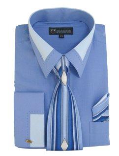 Milano Moda High Fashion Dress Shirt with Contrast Design Tie, Hankie & Cuffs Blue-17-17 1/2-34-35 (Shirt Wide Cuff)