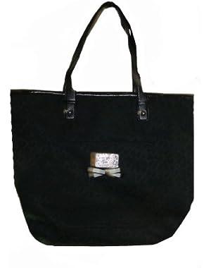 Women's NS Tote Handbag, Large Black Tonal
