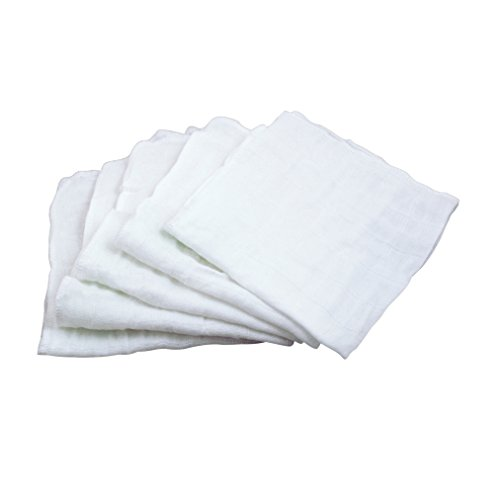 green sprouts Muslin Face Cloths Made from Organic Cotton (5 Pack)| Gently Cleans sniffles, Drips, drools | 100% Organic Cotton Muslin, Super Soft & Softer with Every wash, Machine ()