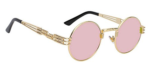 WebDeals - Round Circle Vintage Metal Sunglasses Eyeglasses Bold Design Decorated Frame and Nose Piece (Gold, - Gold Rose Sunglasses Men