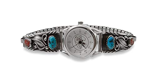 Firebird Jewelers Turquoise Coral Navajo Silver Leaf Women's Watch