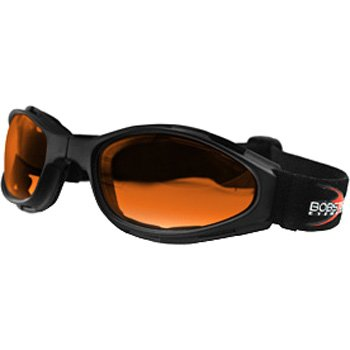 Bobster Crossfire Motorcycle Cruiser Sunglasses/Goggles - Black/Amber / One Size Fits All