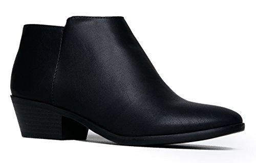 J. Adams Women's Black Pu  Low Heel Western Ankle Bootie - 8 B(M) US by ZooShoo