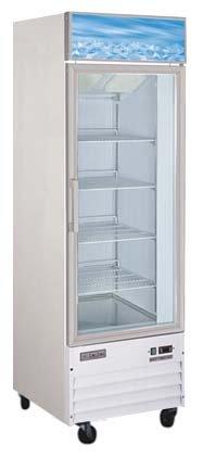 Omcan 24271 Commercial Reach In Refrigerator 26 inch 1 Door Swing Glass Cooler -