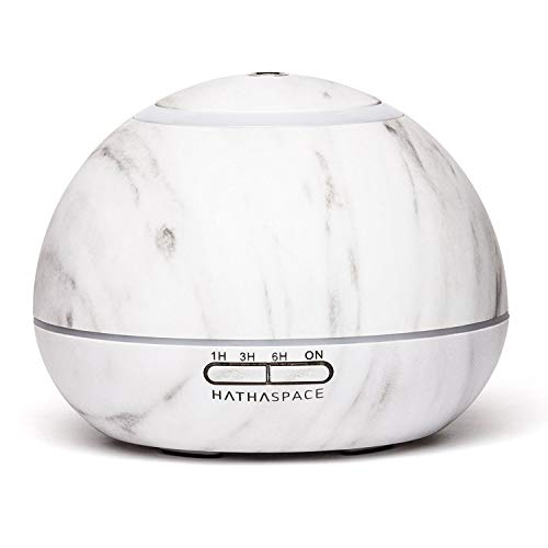 - Hathaspace Marble Essential Oil Aroma Diffuser, 350ml Aromatherapy Fragrance Diffuser & Ultrasonic Cool Mist Room Humidifier, 18 Hour Capacity, BPA-Free, 7-Color Optional Ambient Light (White)