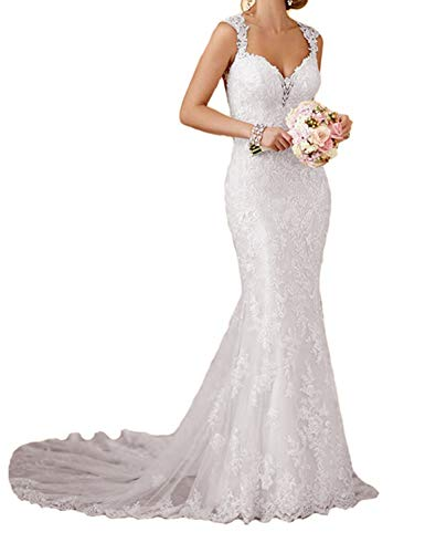 Lace Back Wedding Dress - RYANTH Womens Long Lace Wedding Dresses for Bride 2019 Mermaid Sweetheart Bridal Gown R24 White 14
