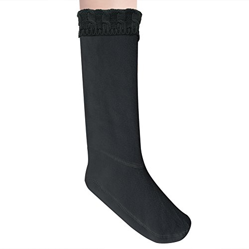 Anzermix Women's Fleece Cable Knitted Liners Rain Boot Socks (M, Black) (Womans Boot Liners)