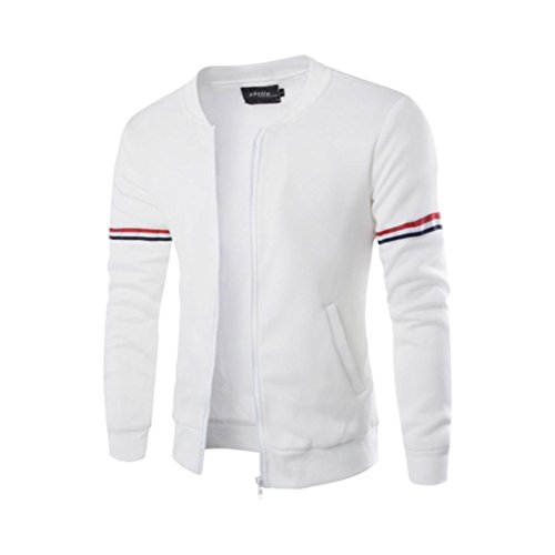 Canserin Hot Sale! Men Jacket, Mens Autumn Winter Decorative Ribbon Leisure Jacket Casual Stand Collar Zipper Coat (S, White) ()