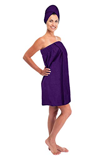 (Turkuoise Women's 100% Premium Turkish Cotton Terry Bath Towel Wrap Made In Turkey (Purple, One Size))