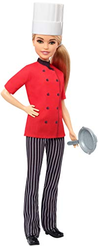 Barbie Chef Doll, Petite, Dressed in Chef-Inspired Coat with Frying Pan, Chef