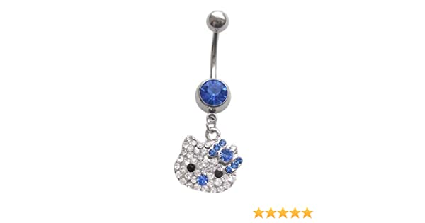 Cute Clear Paved Hello Kitty Head Blue Bow Dangle Belly Button Navel Ring Piercing Bar Body Jewelry 14g