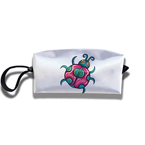 Cosmetic Bags With Zipper Makeup Bag Red Green Ladybug Middle Wallet Hangbag Wristlet Holder]()
