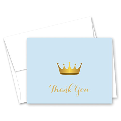 50 cnt Royal Prince Baby Shower Thank You and Envelopes ()