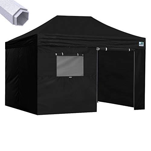 Eurmax Premium 10x15 Pop up Canopy W/4 Walls +Roller Bag (Black)