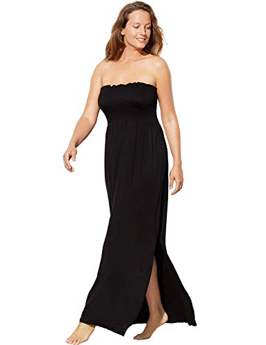 (Swimsuits for All Women's Plus Size Strapless Maxi Dress Swimsuit Cover Up 6 Black)