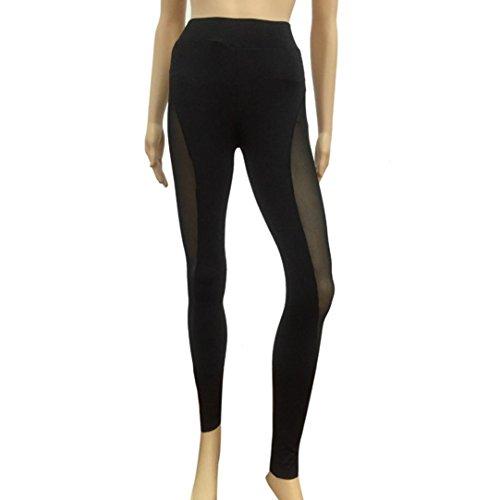 Fulltime® Femmes Mesh Yoga Pants Gym Fitness élastiques Joggers Leggings