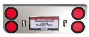 Chrome Rear Light Panel Round LED Lights License Frame