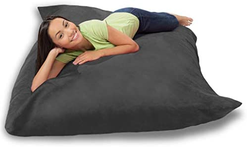 Bean Bag Chair Cover Only, Large Washable Furniture Bean Bag Replacement Cover Without Bean Filling Grey