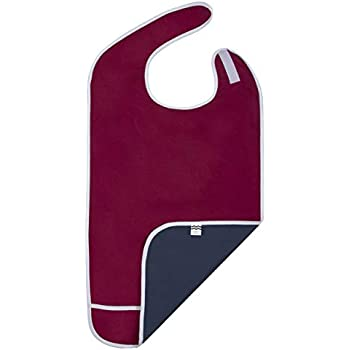 Adult Bib for Eating, Waterproof Clothing Protector with Crumb Catcher. Machine Washable (red-Wide)