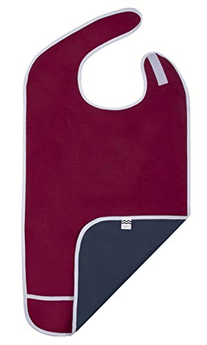 Adult Bibs for Eating, Waterproof Clothing Protector with Crumb Catcher. Machine Washable (red)