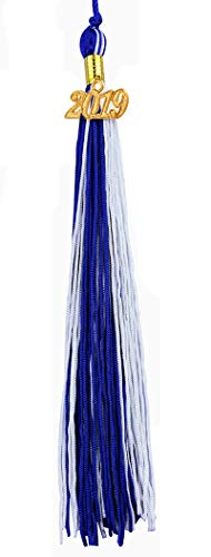 [2019 Upgrade]HEPNA Uniforms Graduation Cap Tassel for Graduation Photograghy,Double Color Royal Blue/White,2019 Year Charm