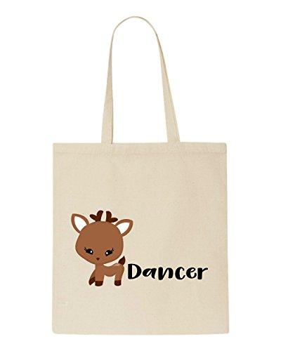 Names Tote Bag Dancer Shopper Character Christmas Reindeer Festive Beige zwx51nfq
