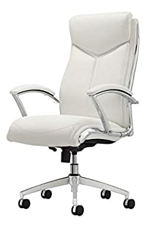 Realspace Verismo Bonded Leather High-Back Chair, White Chrome