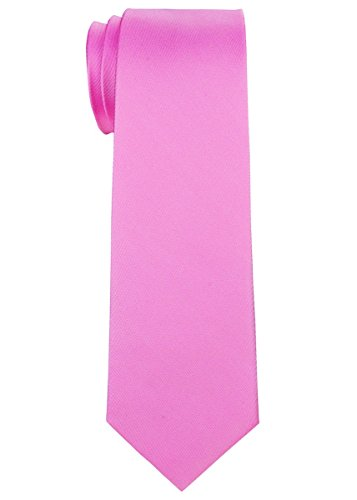 Retreez Solid Plain Color Woven Boy's Tie (8-10 years) - Pink